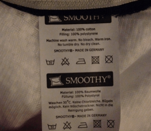 Das Ettiket am Smoothy Sitzsack: Made in Germany
