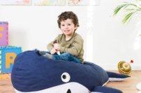Formvollendeter Kindersitzsack Wal für spielerische Momente